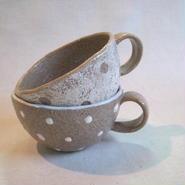 ドット柄 スープカップ(白・茶)