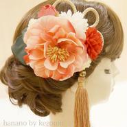 髪飾り✿ピンク椿タッセルシリーズ【hanano by kezouin】世界に一つだけの髪飾り ak0131