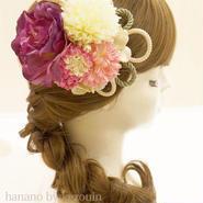 髪飾り✿紫ローズ/ピンク白菊【hanano by kezouin】世界に一つだけの髪飾り ak0136