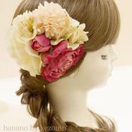 髪飾り✿ピンクレッド芍薬ピオニー【hanano by kezouin】世界に一つだけの髪飾り ak0135