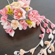 髪飾り✿つまみかんざし ピンク×クリーム 小鳥/花デザイン 藤下がり 花かんざし 0127