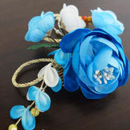 髪飾り✿フラワーコーム 芍薬 青ブルー  花かんざし 0130