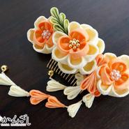 髪飾り✿つまみかんざし 紫 大輪の菊 花かんざし 0128
