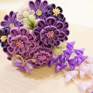 髪飾り✿つまみ簪 紫 0122