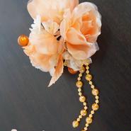 髪飾り✿フラワーコームかんざし ビーズ オレンジ 花かんざし 0126