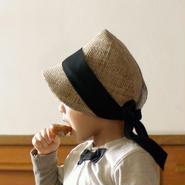 麦わら帽子 こども用【ブラックリボン】 キッズ