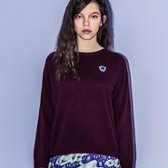 ワンポイントカシミア混セーター(burgundy)