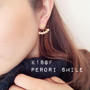 再販!K18gf perori smile◡̈⃝2wayピアス