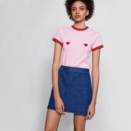 LAZY OAF / FLOCK HEART T-SHIRT