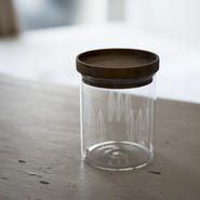 wood glass canister M #1