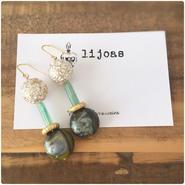 アンティーク風ゴールドandグリーン砂金石とグリーンマーブルストーンのピアス