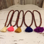 【midgetgems】Wood Beads Mini Tassel Necklace