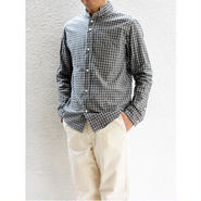 nisicamokusiro(ニシカモクシロ) スモールスタンドネックシャツ2 ギンガムチェック Men's