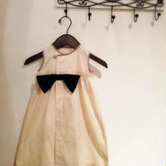 バングラデシュ産のストライプシルクのりボンドレス