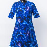 袖付きワンピース ( 青薔薇柄 )