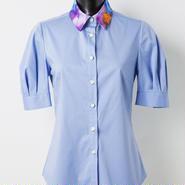 半袖シャツ(紫/水色)
