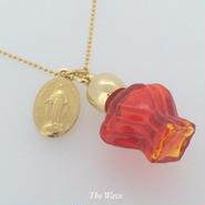 フランスアンティークメダイと香水瓶のネックレス -Red-