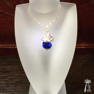 <Rose14kgf> 8mmジルコニアのネックレス -ユリの紋章 Blue-