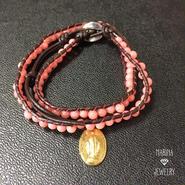フランス奇跡のメダイとピンク珊瑚のラップブレス