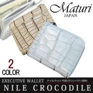 Maturi マトゥーリ ナイルクロコ革 半折L字財布ファスナー コンパクト 財布 MR-135 カラー選択