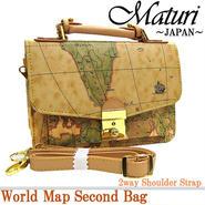 Maturi マトゥーリ ワールドマップ 地図柄 セカンドバッグ ショルダーにも!MT-05