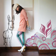 Behind the curtain Tights Green (donkey)  60デニール