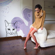 Curious kittens Stocking Red (cat)  30デニール