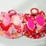 お花とうさぎの浴衣*Mサイズ(ピンク、レッド)