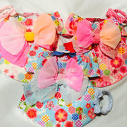 お花とうさぎの浴衣*Lサイズ*(ホワイト、ピンク、水色)