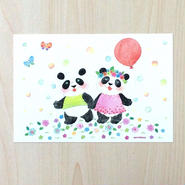 ポストカード〈バラ売り〉 仲良しパンダ_PC-Y137