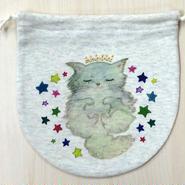 [送料無料] 巾着(大) お眠り猫_KTL-Y065