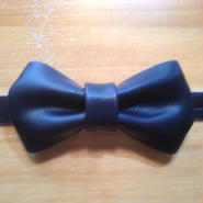 leather bow tie  [navy]