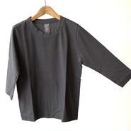 homspun  天竺七分袖Tシャツ・ブラック