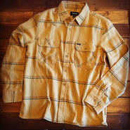 "【BRIXTON】ARCHIE L/S FLANNEL  ""WASHED YELLOW"""