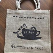 ポタリングキャット ジュートバッグ「猫と珈琲」