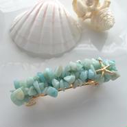 海色ブルーの天然石バレッタ