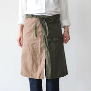 TRAVELERS APRON_BEIGE×GREEN