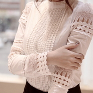 <即納>White lace shirt tops