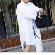 <即納>White asymmetry long shirt