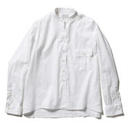 COTTON DOBBY STRIPE BAND COLLAR SHIRTS 【WOMENS】