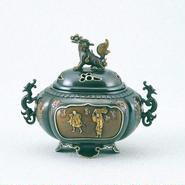064-09 香炉 獅子蓋(間取人物)