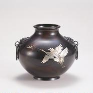旧035-02 花器 7寸釻付寿型 (鶴彫金)