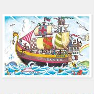 二つ折りカード 海賊 封筒付き