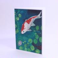 二つ折りカード 鯉 封筒付き