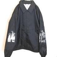 FIRE GRAFFITI COACH JACKET (BLACK)