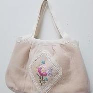 【ああ】刺繍の入ったグラニーバッグ ピンク花 P17-1190