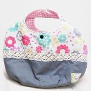 【ああ】丸型Bag グレー×花 P17-1066