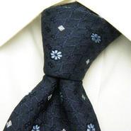 ライトネイビー系スーツに◎【WITH GALLERY】イタリア素材&日本製 織り柄の綺麗な総柄ネクタイ【USED】0313