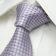 【SALVATORE VINCI】サルヴァトーレ・ヴィンチ 綺麗系スクエア ネクタイ シルク100%【ピンクパープル系】
