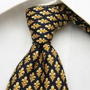 綺麗なネイビー系 ROYAL PRINCE POLO CLUB パブロクリエイション 総柄ゴールド紺系ネクタイ USED 0201